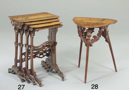 A CARVED FRUITWOOD AND MAHOGAN
