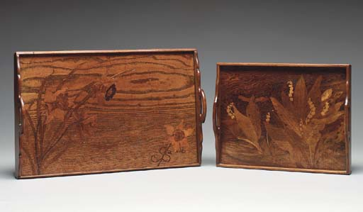 TWO MARQUETRY TRAYS