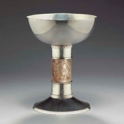 A SILVER AND FROSTED GLASS CHA