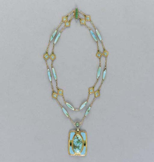 A CABOCHON TURQUOISE AND ENAME