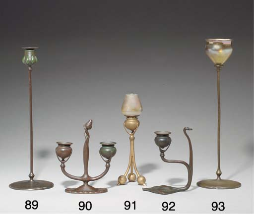 A TWO-ARM BRONZE CANDELABRA