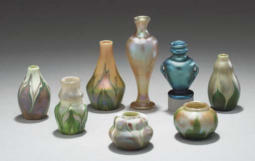 A GROUP OF EIGHT FAVRILE GLASS