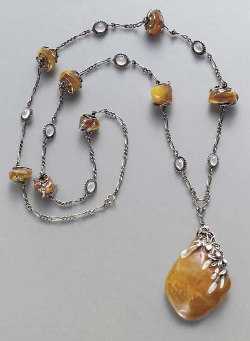 A SILVER, AMBER, MOONSTONE AND