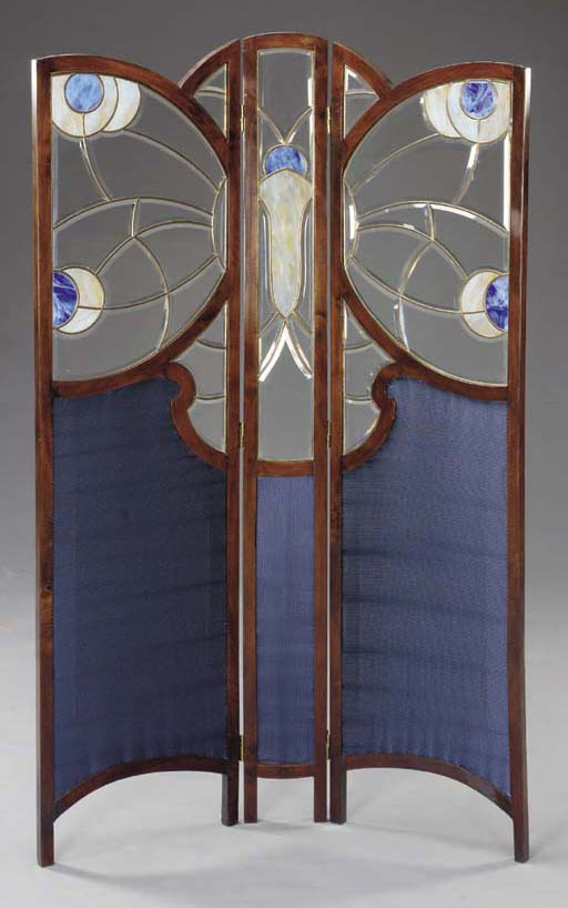 A LEADED GLASS AND STAINED OAK