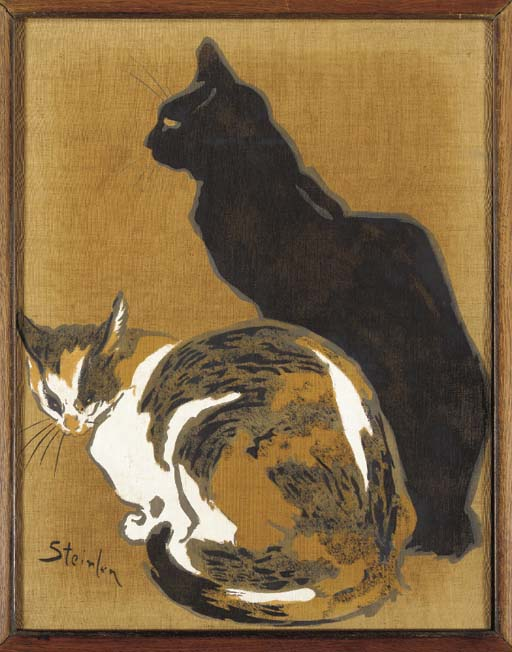 'TWO CATS', A POCHOIR ON SILK