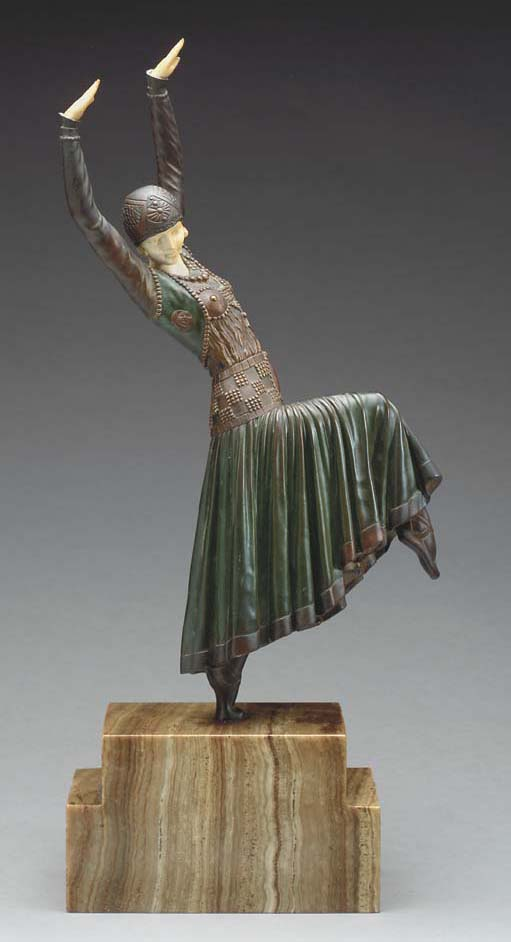 'VESTED DANCER', A PATINATED A