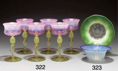 TWO PASTEL FAVRILE GLASS BOWLS