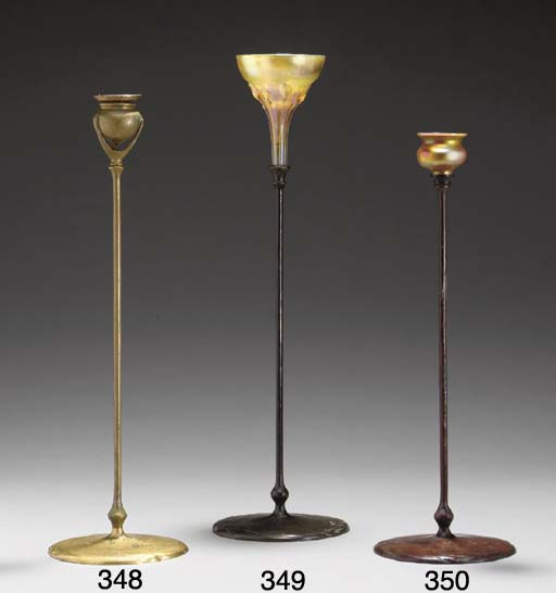 A FAVRILE GLASS AND BRONZE CAN