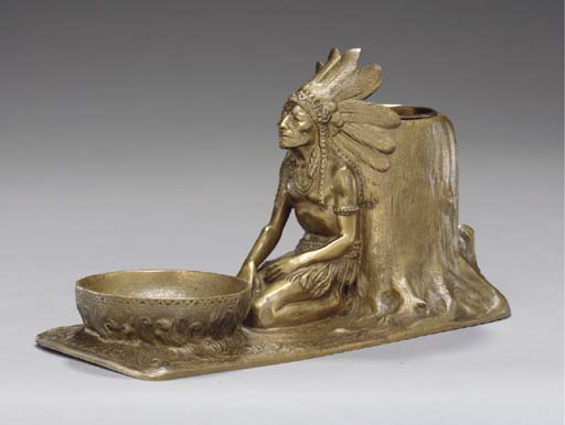A GILT-BRONZE 'INDIAN' SMOKERS