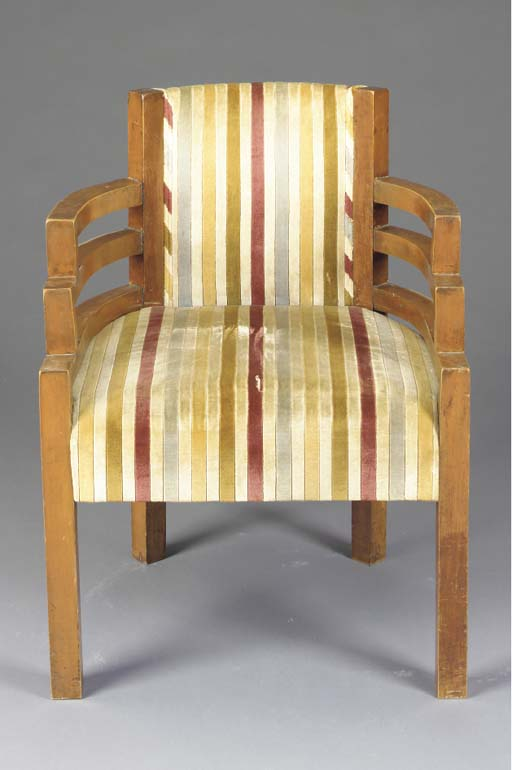 A MODERNIST FRUITWOOD ARMCHAIR
