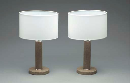 A PAIR OF SHAGREEN AND CHROMED