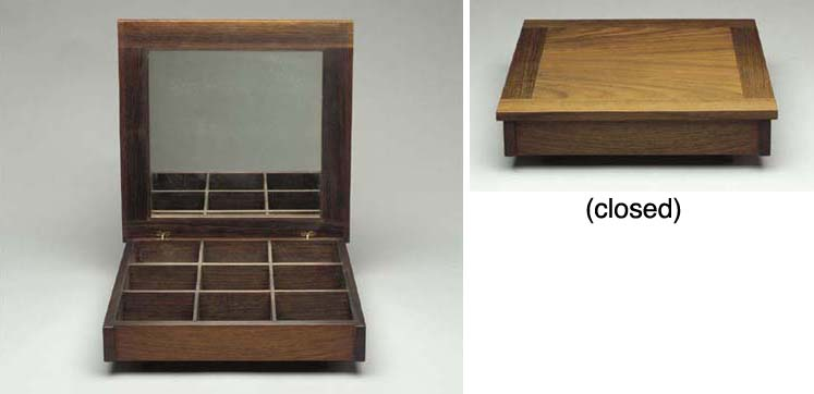 A ROSEWOOD JEWELRY BOX