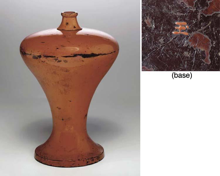 A Negoro Lacquer Sake Bottle (
