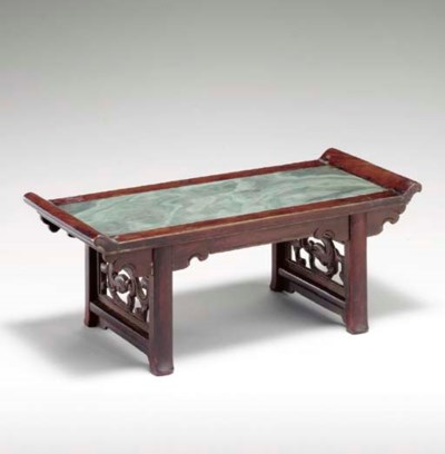 A GREEN MARBLE AND HUANGHUALI