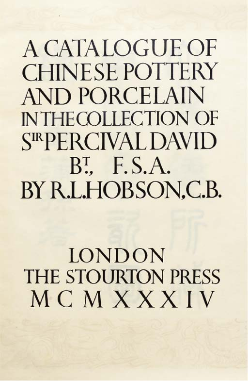 HOBSON, R.L. Catalogue of Chin