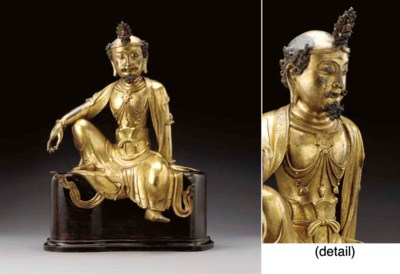 A FINE AND RARE GILT-BRONZE SE