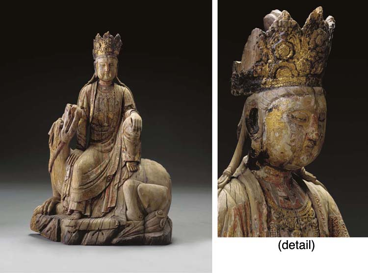 A GILDED AND PAINTED WOOD FIGURE OF A BODHISATTVA