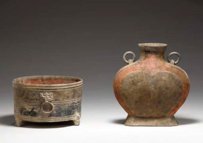 TWO PAINTED GREY POTTERY VESSE