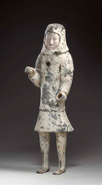 AN UNUSUAL PAINTED GREY POTTER