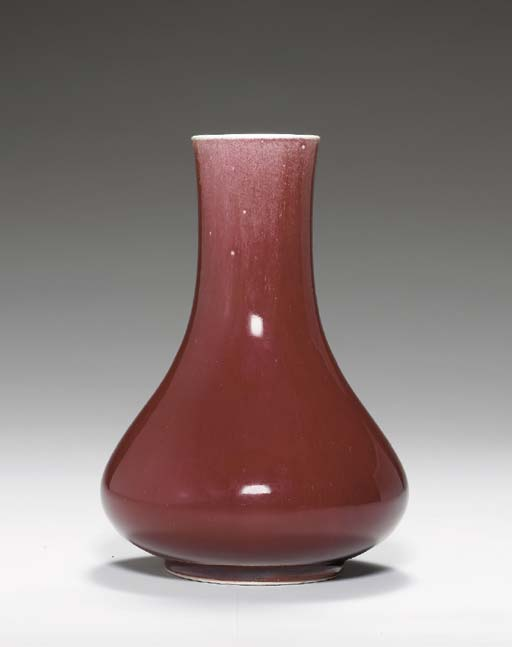 A COPPER-RED-GLAZED PEAR-SHAPE