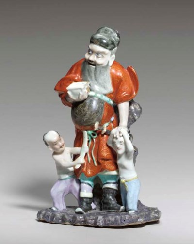 A FAMILLE ROSE FIGURAL GROUP O