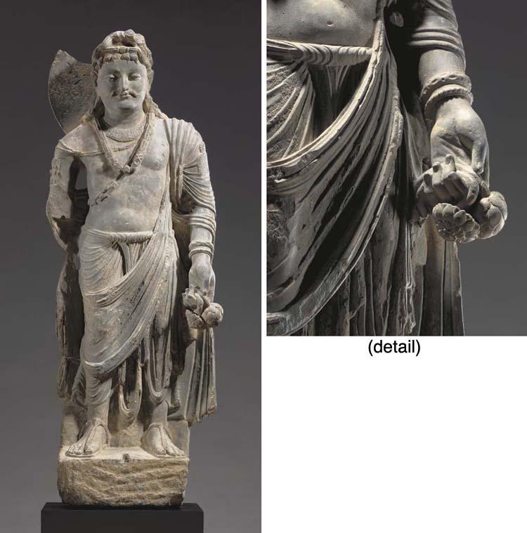 A Gray Schist Figure of a Bodh