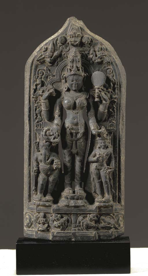 A Black Stone Stele of Parvati