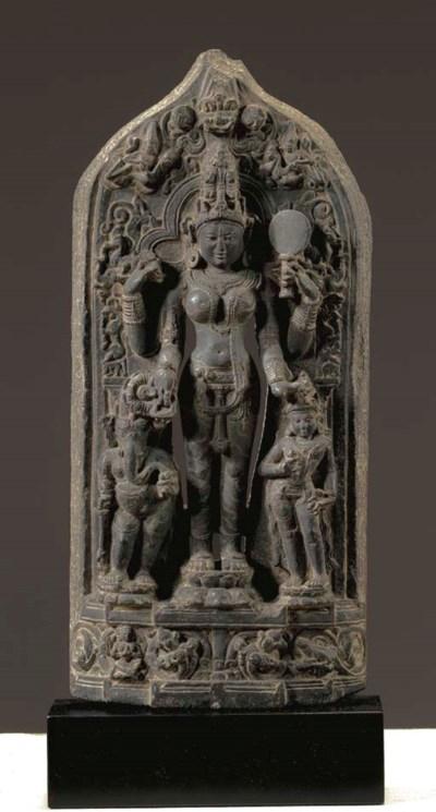 A Black Stone Stele of Parvati