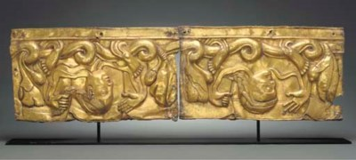 A Two-Panel Gilt Copper Repous