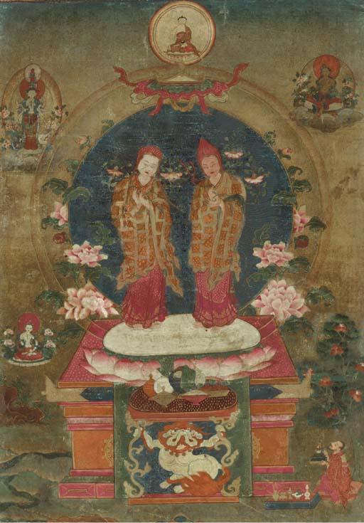 An Unusual Thangka of Two Saky