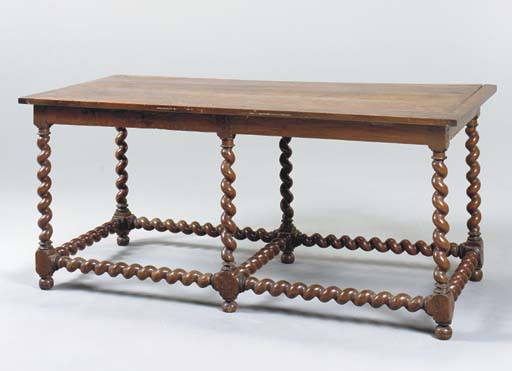 A FLEMISH WALNUT LIBRARY TABLE