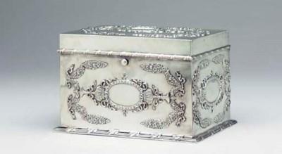 AN AMERICAN SILVER BEZIQUE BOX