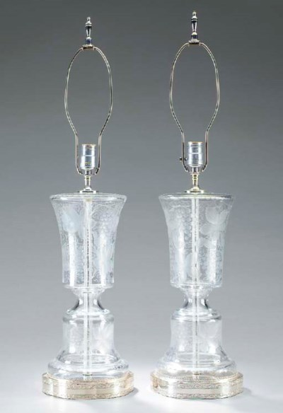 A PAIR OF CUT-GLASS AND SILVER