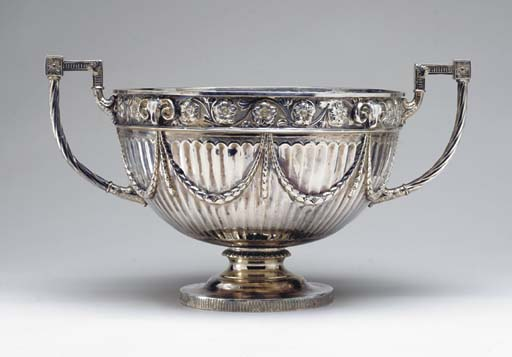 A SILVER-PLATED TWO-HANDLED PU