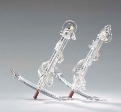 PAIR OF COLORLESS GLASS ANCHOR