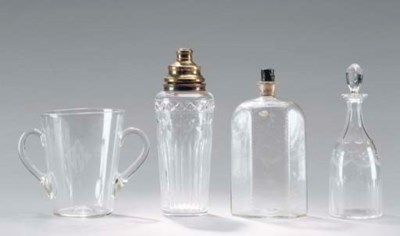 A GROUP OF DECANTERS AND A HAW