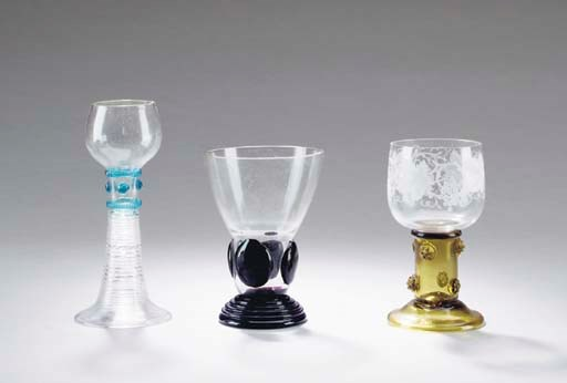 THREE SETS OF GERMAN WINE GLAS