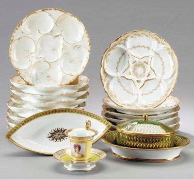 TWO SEVRES (HARD PASTE) GREEN-