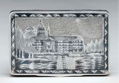 A SILVER NIELLO BOX,