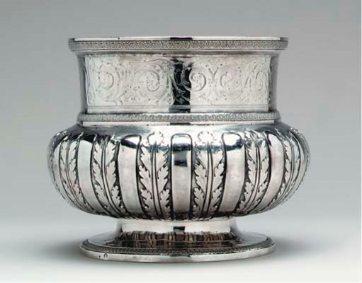 A FRENCH SILVER CACHEPOT*,