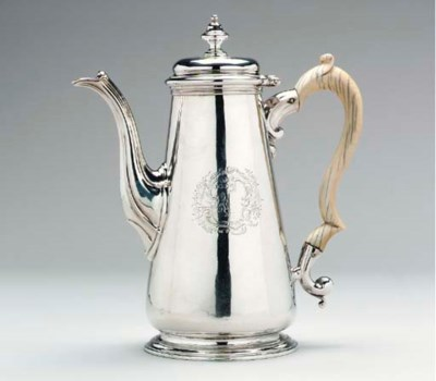 A GEORGE II SILVER COFFEE POT*