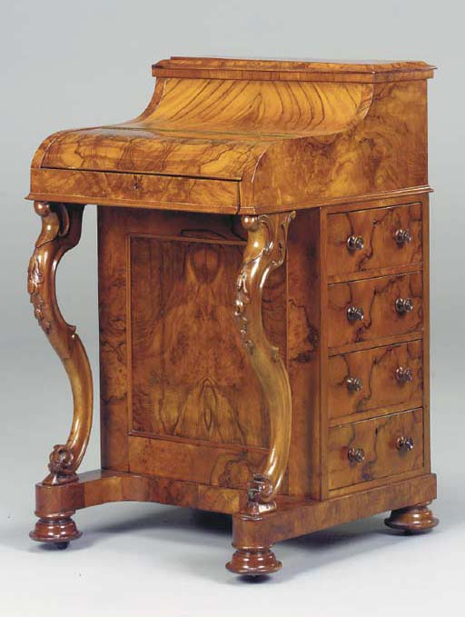 A VICTORIAN FIGURED WALNUT DAV