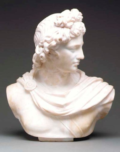 A WHITE ALABASTER BUST OF ABOL