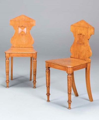A PAIR OF VICTORIAN OAK HALL C