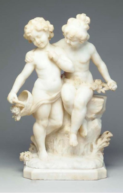 AN ITALIAN ALABASTER FIGURAL G