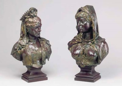 A PAIR OF FRENCH BRONZE PATINA