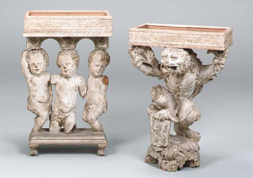 TWO GREY-PAINTED FIGURAL CARVE