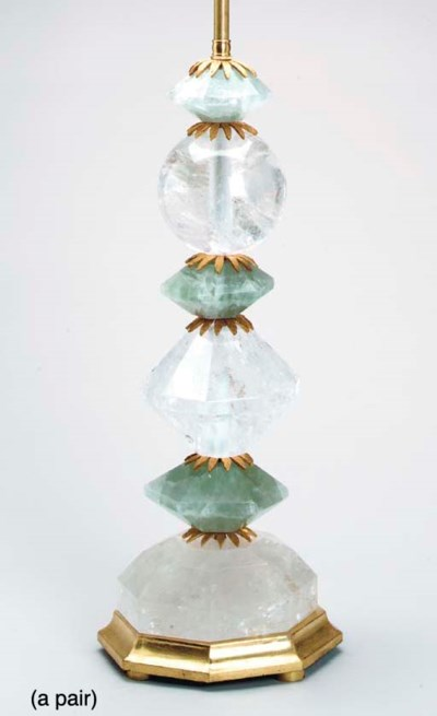 A PAIR OF ROCK CRYSTAL GREEN Q