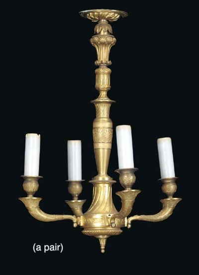 A PAIR OF EMPIRE STYLE GILT-BR