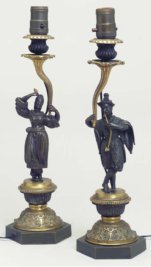 A PAIR OF REGENCY GILT AND PAT